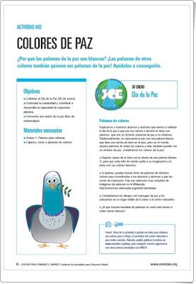 """Propuesta didáctica para el Día de la Paz y la No Violencia, 30 enero: """"Colores de Paz"""" (Educación Infantil). Unicef."""