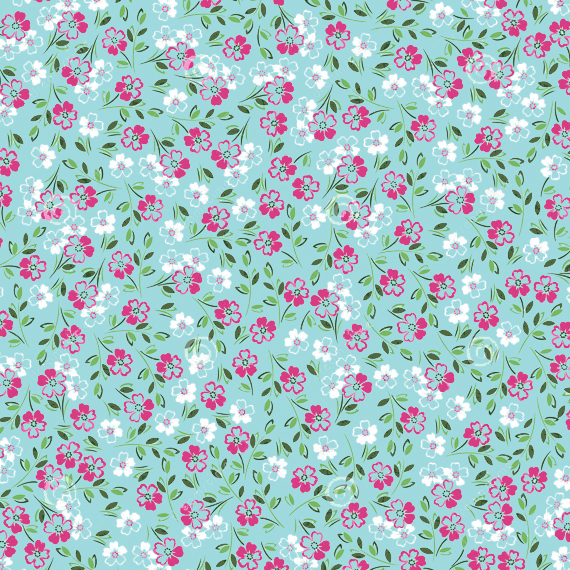 floral patterns, pantone colors island paradise blue and pink yarrow