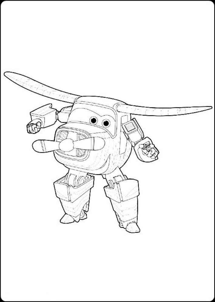 Gambar Mewarnai Super Wings Sketsa Pesawat Robot Pola