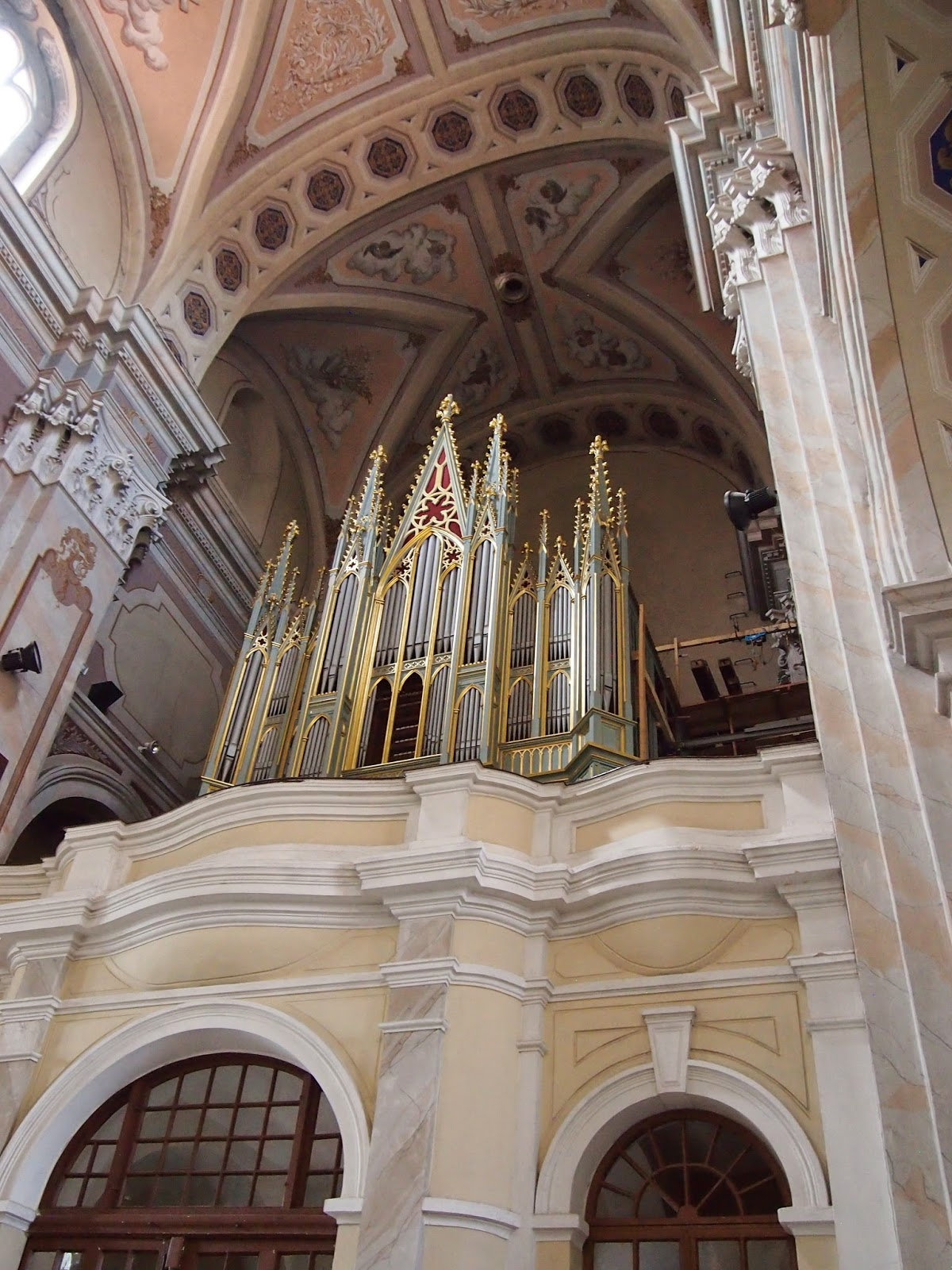 the gilded organ in the Cathedral of Sts. Peter and Paul