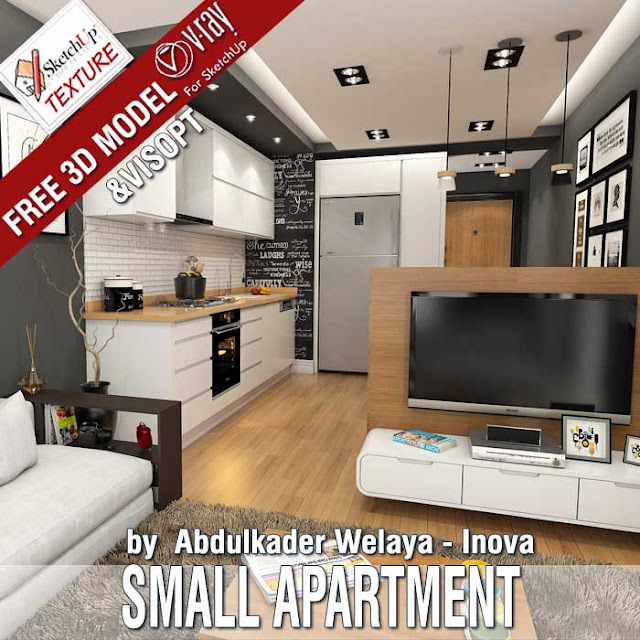 Free skethUp 3D model small apartment by Abdulkhader Walaya