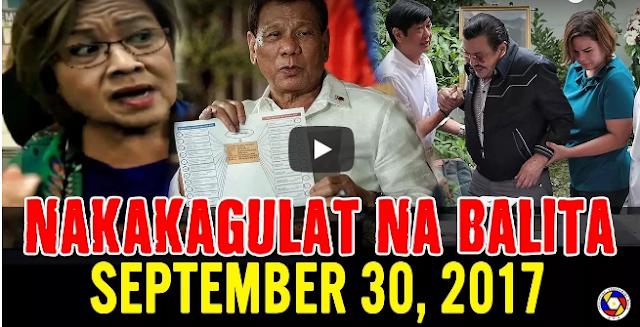 Nakakagulat Na Balita Ngayon September 30, 2017 - PING LACSON | DE LIMA | PRES. DUTERTE