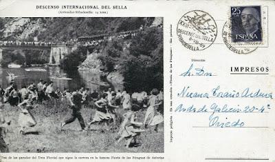 Tarjetón con matasellos del Descenso del Sella 1959