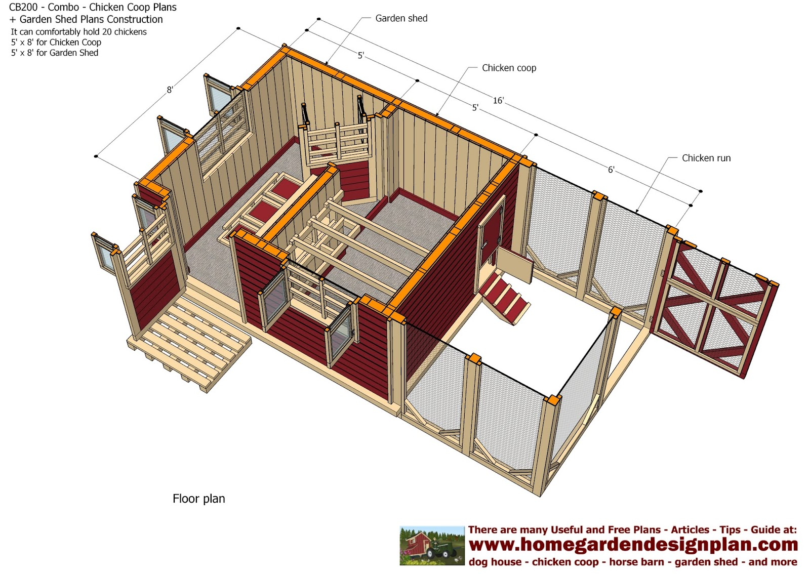 Home garden plans cb200 combo plans chicken coop for Shed floor plans