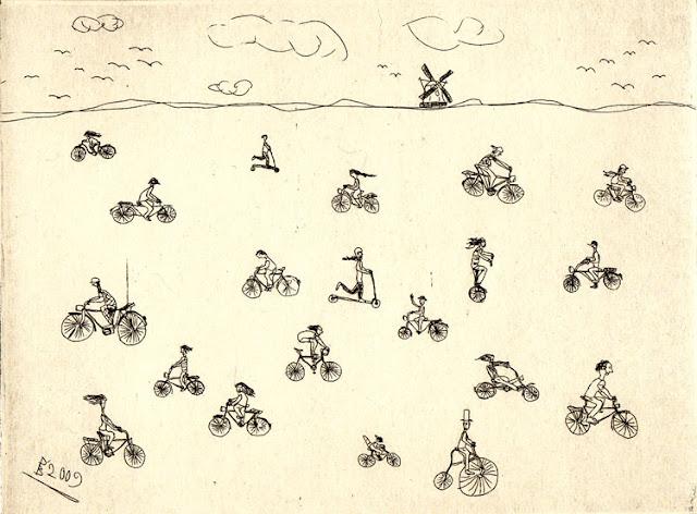 Pebu: Radierte Radler, Strichätzung, 2009