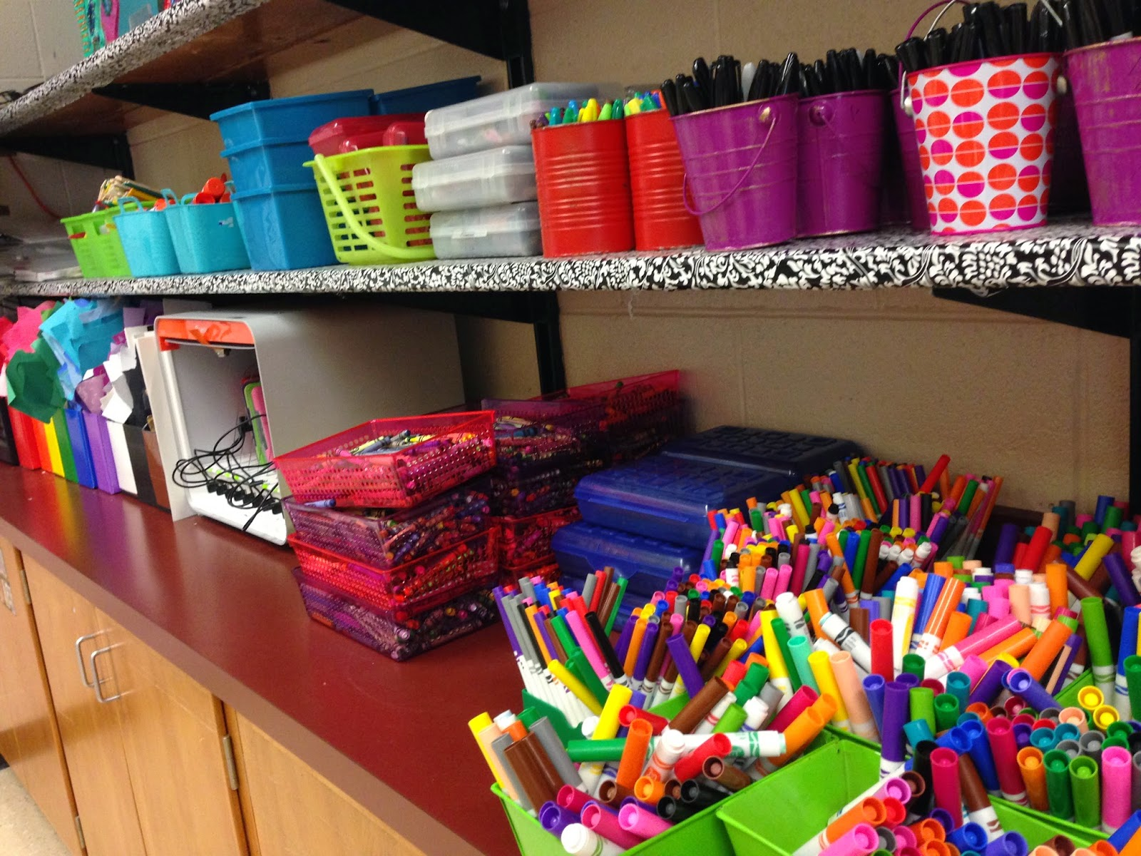Organize supplies by table and other  tips to save time in the art room on Expressive Monkey's Blog.