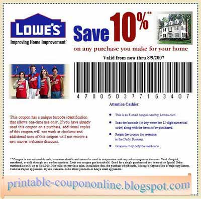 Description ONE (1X) Lowes 10% OFF Printable Coupons In-Store & Online Use Exp 12/31/ Fast Instant Delivery 24/7 Delivered to your PayPal Email Address. This code will save you up to $ off at alinapant.ml ONLINE or In store. You want a fridge for $ you get $ off.