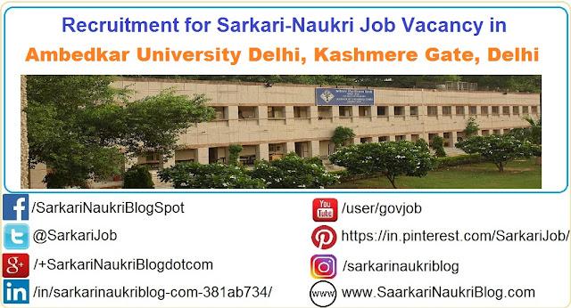 Naukri Vacancy Recruitment Ambedkar University Delhi  AUD