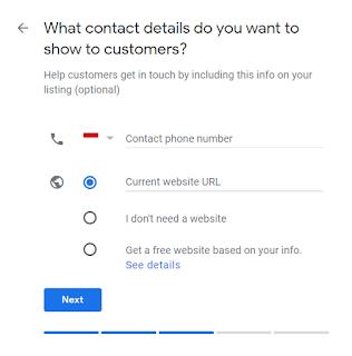 Pada halaman ini anda diminta untuk mengisi nomor Hp anda, alamat web jika ada. Isi dengan benar. Lalu klik Next
