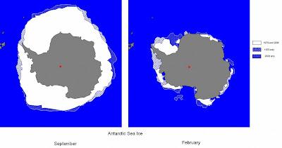 Antártica: oscilações do gelo entre setembro (inverno) e fevereiro (verão).