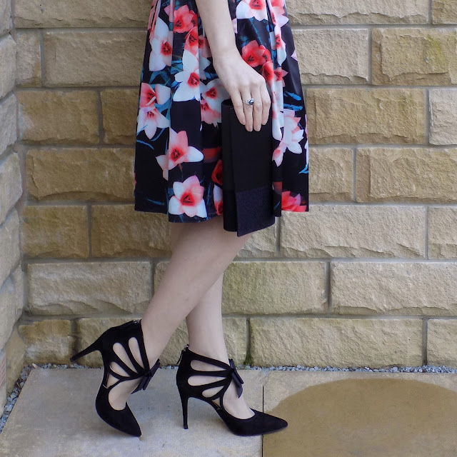 What Lizzy Loves wears Kaleidoscope floral skirt and Bardot top and Boden bow shoes