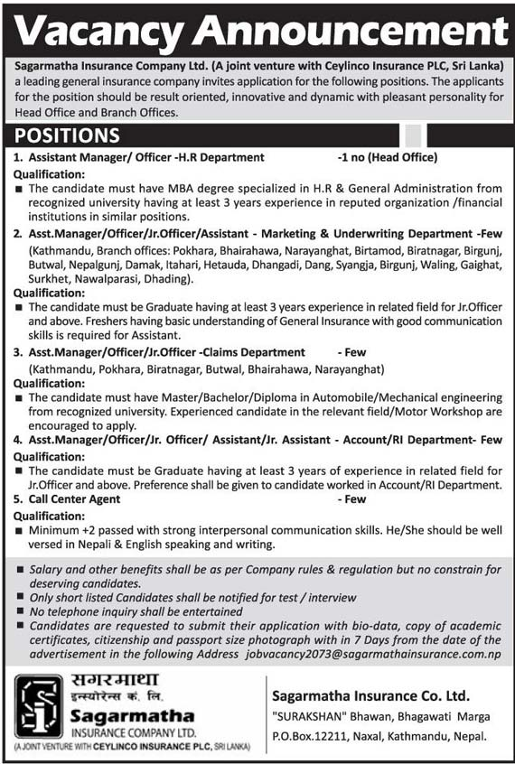 Vacancy announcement from sagarmatha insurance - Post office joint account ...