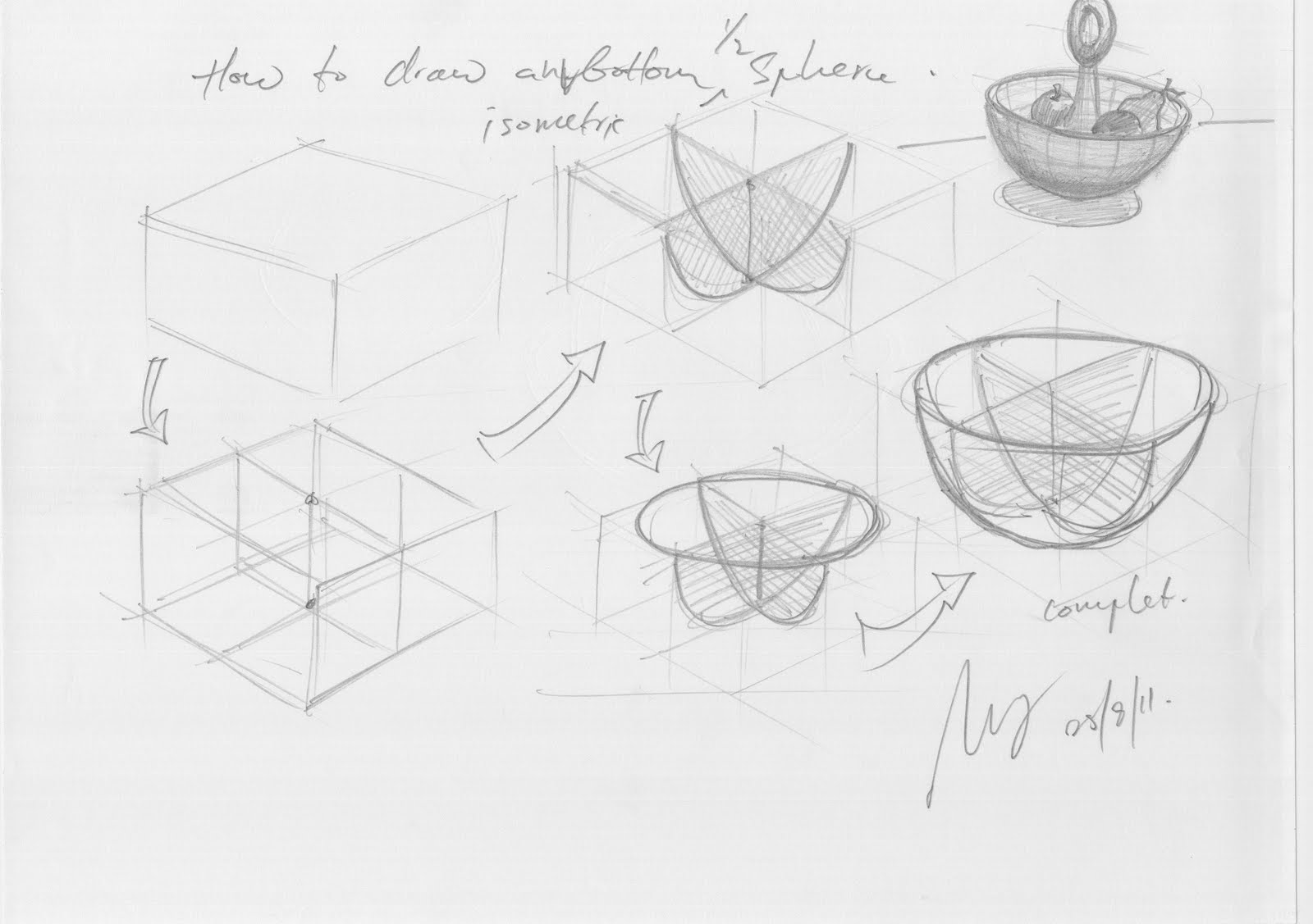 Design Journal Sos How To Draw A 3d Bottom Half Sphere