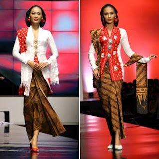 Kebaya Kartini Model Terbaru Merah Putih