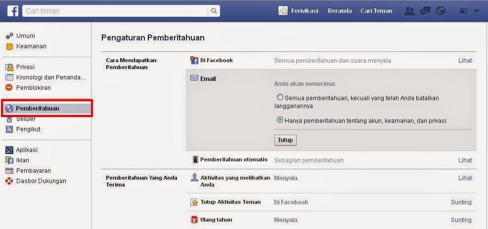 Cara Menonaktifkan Pemberitahuan Facebook Masuk ke Akun Email