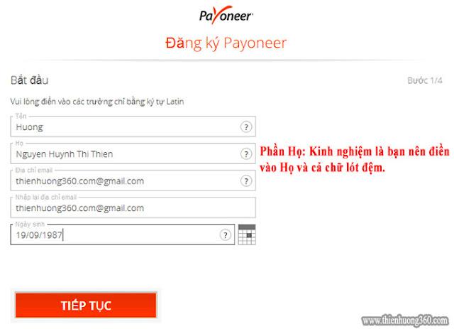 Hình 1: Hướng dẫn đăng ký Payoneer - Bước 1