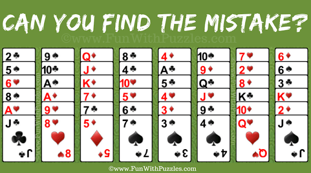 Your challenge in this Mistake Finding Card Game Puzzle to find one mistake in the given puzzle picture