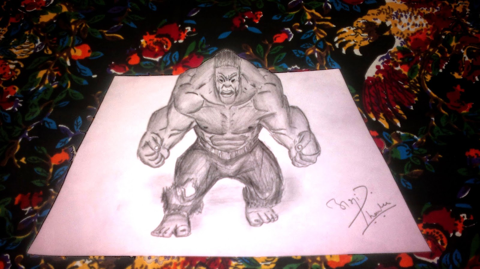 3D Hulk Sketch by Abhishek Thamke