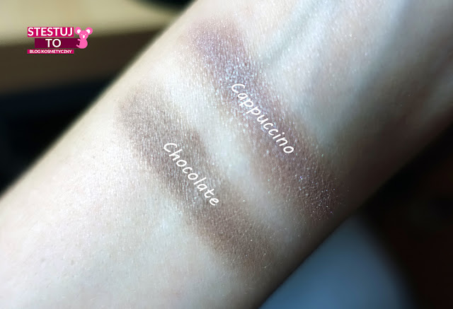 swatche cieni mineralnych annabelle minerals cappuccino chocolate
