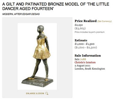 Replica of Edgar Degas The Little Dancer sold at Christie's