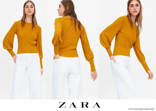 Kate Middleton wore Zara yellow puff sleeves sweater