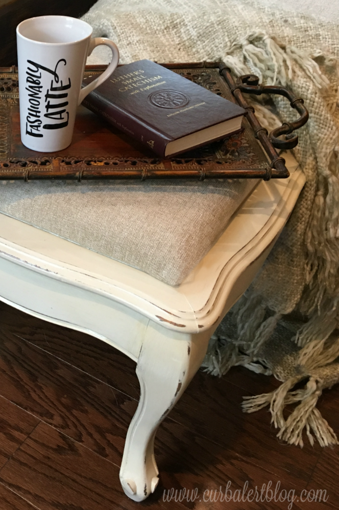 Marvelous White Distressed Coffee Table Ottoman