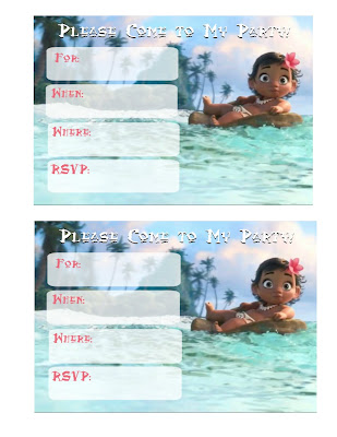 free Moana invitations