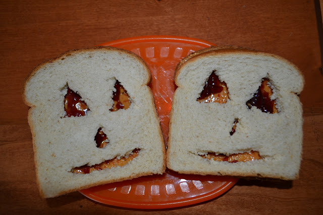 Halloween peanut butter sandwiches