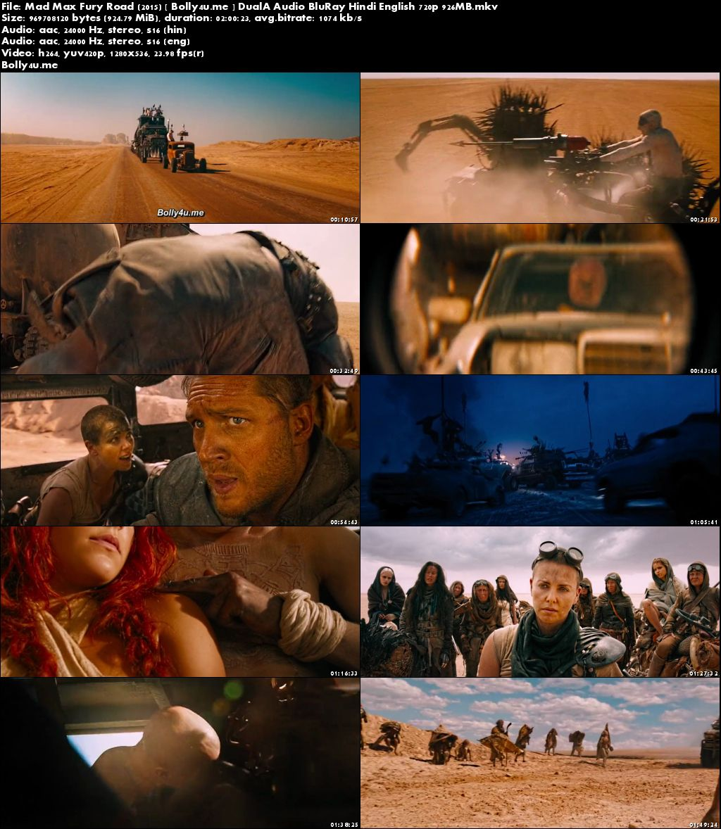Mad Max Fury Road 2015 BRRip 350MB Hindi Dual Audio 480p Download