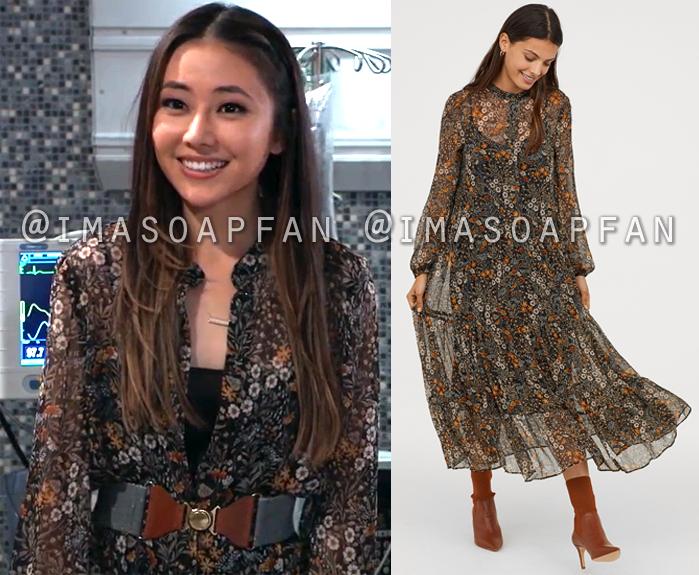 Daisy Kwan, Kelsey Wang, Black Floral Chiffon Midi Dress, General Hospital, GH
