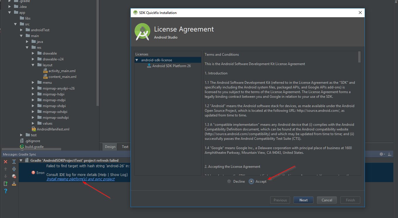 Allen conways blog accepting the android sdk license via android open up android studio and create a new basic project to trigger the license agreements once i created a project the following licensing dialog was platinumwayz
