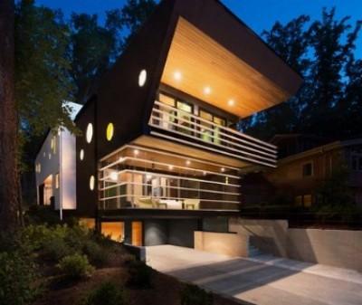 rumah futuristik minimalis tampak depan