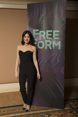 PLL actress Lucy Hale in black jumpsuit