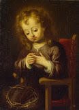 Infant Christ Pricked with the Crown of Thorns by Bartolome Esteban Murillo - Christianity Paintings from Hermitage Museum