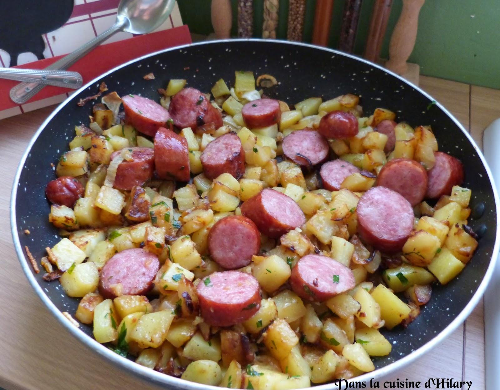 Poêlée de pommes de terre aux saucisses de Montbéliard
