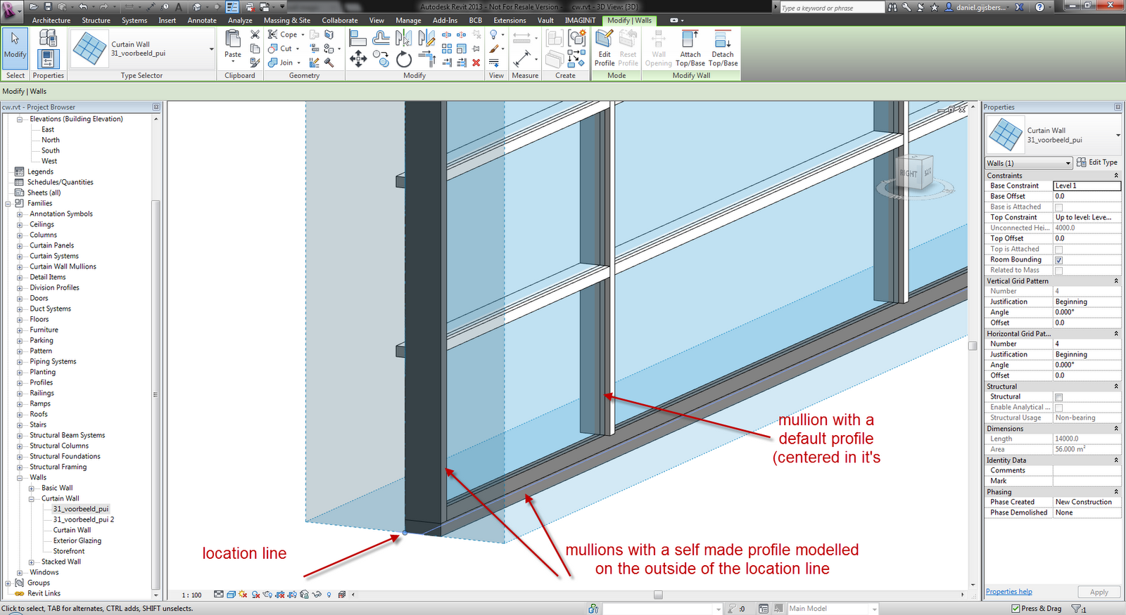 Daniël And Autodesk AEC Software Revit Curtain Wall Mullions