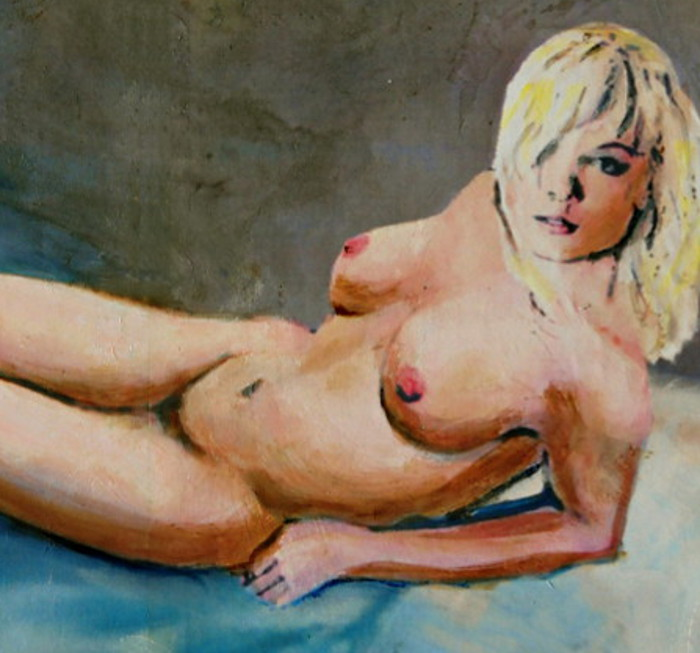 Nikie Reclining With Blue ... an original clasic traditional/modern multimedia acrylic/oil painting of a female nude