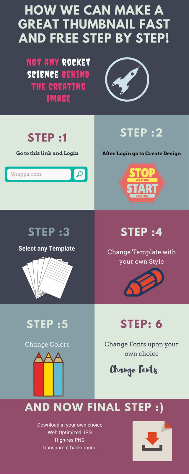 Make your own design and thumbnail in snappa