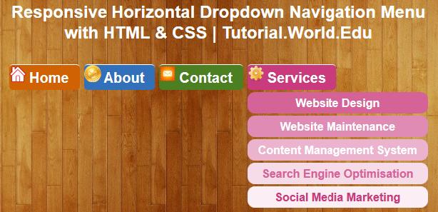 Tutorial: Create Responsive Horizontal Dropdown Navigation Menu with HTML & CSS