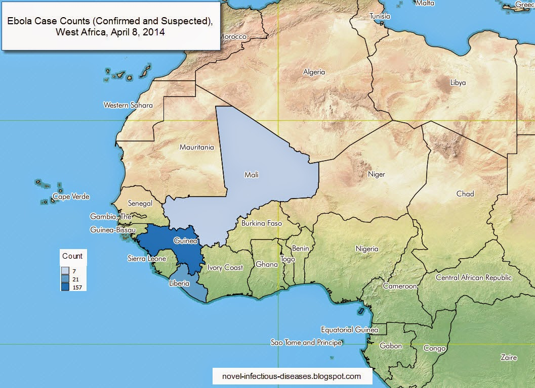 Map: Ebola Outbreak, West Africa, as of April 8, 2014