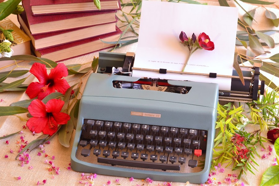 Decoracion para bodas maquina de escribir vintage olivetti