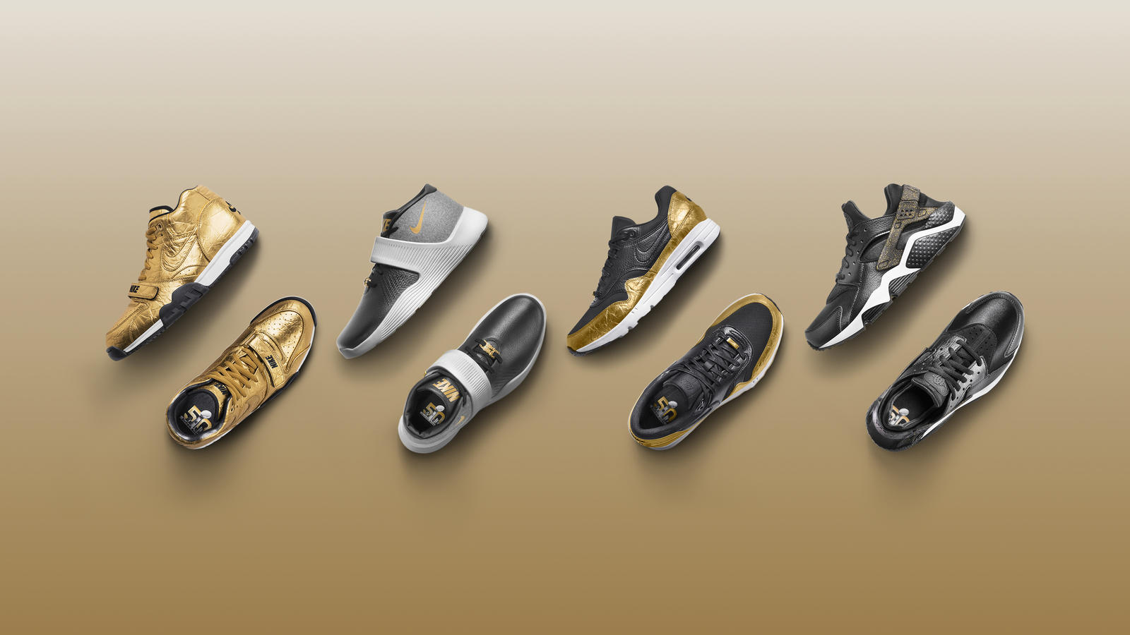 """50ecb940 ... mientras que los modelos """"Ultra XT"""" y """"Air Huarache"""" optaron por una  apariencia más atenuada, usando oro solo como un color de acento."""