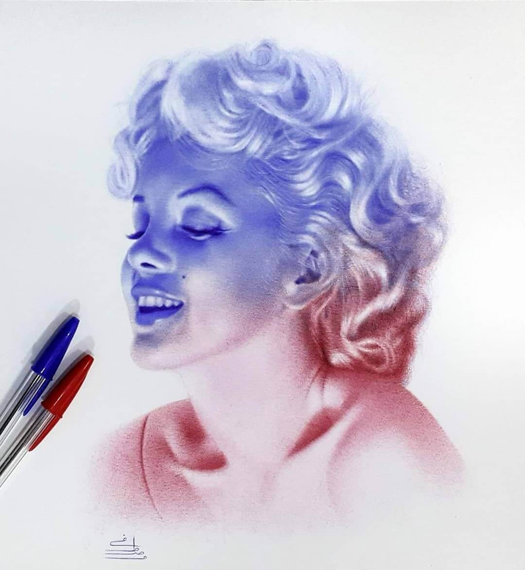 05-Marilyn-Monroe-Mostafa-Khodeir-Celebrities-and-Non-Ballpoint-Pen-Portraits-www-designstack-co
