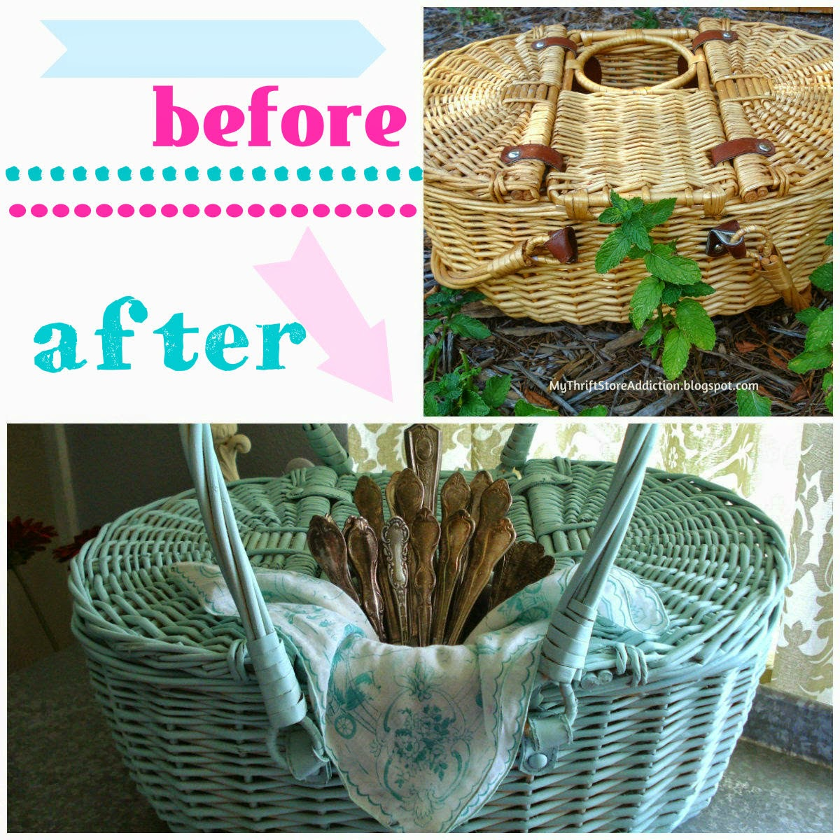 Yard sale picnic basket upcycle