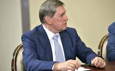 Aide to the President of Russia Yury Ushakov at a meeting with Vatican Secretary of State Cardinal Pietro Parolin.