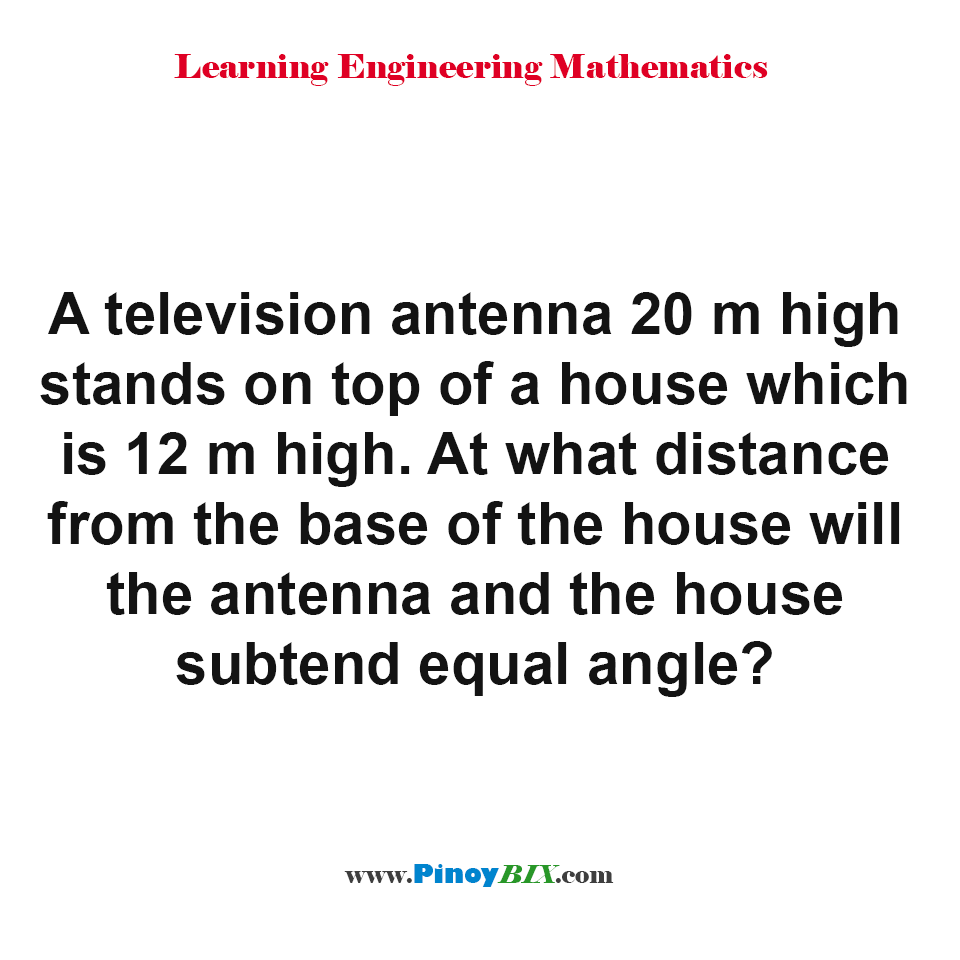 At what distance from the base of the house will antenna and house subtend equal angle?