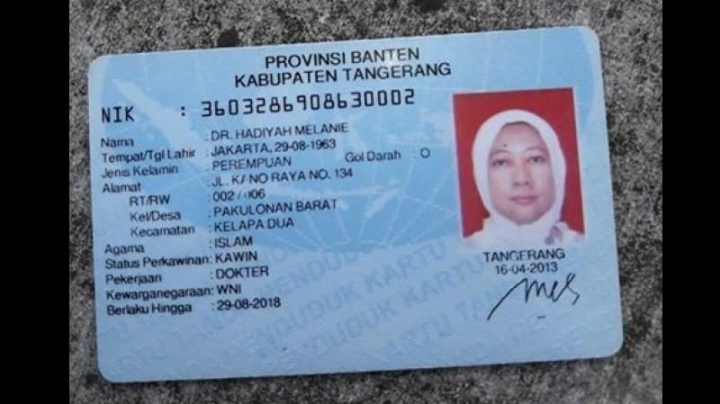 KTP milik dr Hadiyah Melanie