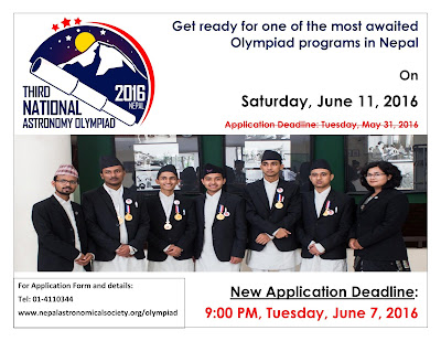 National Astronomy Olympiad: New Application Deadline is June 7, 2016!