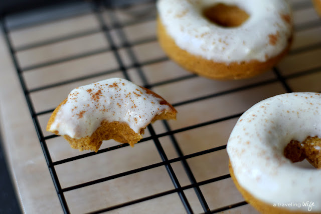 Blender Pumpkin Baked Donuts with Maple Cream Cheese Frosting   www.atravelingwife.com