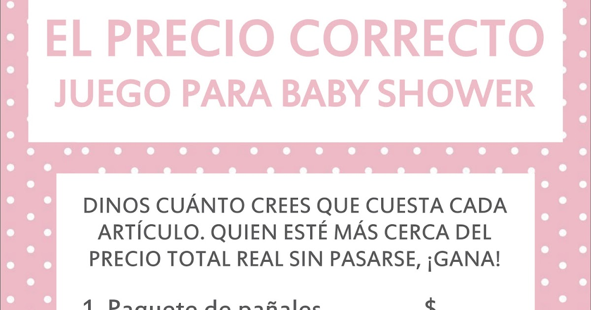 El Precio Correcto Juegos Para Baby Shower Para Imprimir Juegos
